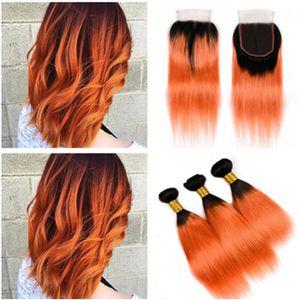 # 1B / Orange Ombre 3 Bundle Deals 부드러운 직선의 브라질 버진 머리카락과 마감 오렌지 옴브 4x4 레이스 클로저 (직조 포함)