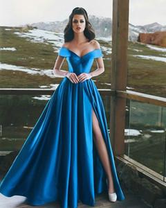 Vestido de noche Dresse 2019 Modest Said Mhamad Arabia Saudita Para Mujeres Vestido formal Dividido Azul real Vestidos de baile Celebrity Robe De Soiree