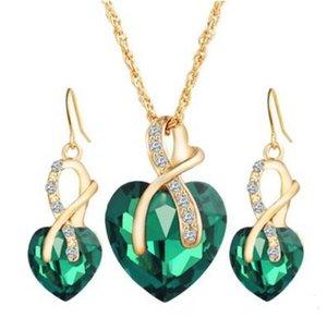 Austria Austria Cristal de Circón de las mujeres Collar de la Joyería Pendientes de la Forma del Corazón Colgante Stud Pendientes Joyería de la Cena de Boda de las mujeres 5 colores
