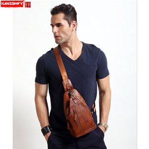 HANSOMFY genuíno peito de couro saco de camurça dos homens bolsa de couro do sexo feminino casual mensageiro ombro peito pequeno retro sacos