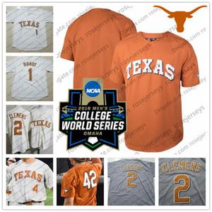 Personalizado Texas Longhorns College Baseball Branco Laranja Creme Cinza Qualquer Número Nome # 2 Kody Clemens Jake McKenzie NCAA 2018 CWS Jersey S-4XL
