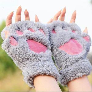 Cat Claw Fäustling Winter Warm Cute Cartoon Girl Fäustling Handschuhe Dickes Villi Coral Fleece Bärentatze halbe Fingerhandschuhe