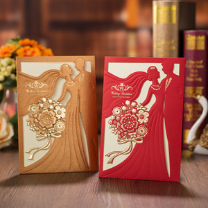 Wholesale 50 PCS Lot Gold Laser Cut Bride and Groom Wedding Invitations Card Greeting Cards Wedding Party Decoration