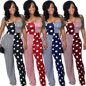 Freies Schiff Frauen Sexy Sleeveless Polka Dot Print Jumpsuit Hohe Taille Bodycon Lange Spielanzug Lässige Outfit