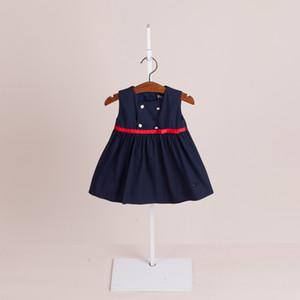 Nouveautés Vêtements fille fille Robes enfants vêtements 2018 Kids Boutique Vêtements Korean Solid Color Filles Sans manches A-Line Robes 2 couleurs