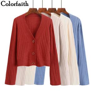 Colorfaith Femmes Cardigans Chandail Nouveau 2019 À Tricoter Automne Hiver Casual Boutons Single Breasted Extérieur Porter Dames Hauts SW1003