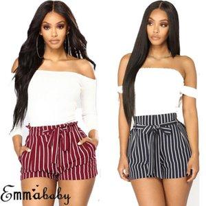 Womens Striped Bandage Shorts Summer Sexy Hot Casual Beach cintura alta Mini Shorts Nueva Moda Ropa femenina