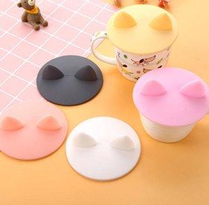 귀여운 만화 고양이 귀 모양의 컵 커버 음식 학년 내열성 누수 방지 실리콘 뚜껑 커피 잔 뚜껑 커버 SN1331