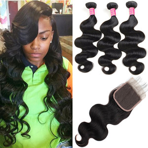 8A Indian Virgin Human Hair 3Bundles With 4X4 Lace Closure Body Wave Loose Deep Wave Straight Water Wave Kinky Curly Indian Virgin Hair