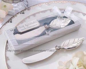تصميم جديد 100 قطع كروم ليف الموزعة الخريف الخريف موضوع الزفاف دش زبدة سكين الجبن أداة عرس الحسنات هدية