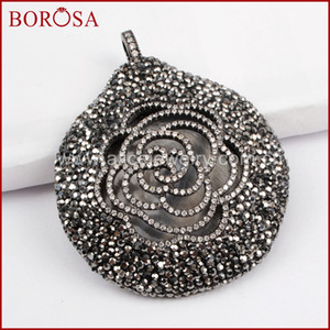 BOROSA 3PCS Big Round Pendant Micro Pave CZ Flower Pendant with Crystal Rhinestone Pave Handcrafted Drusy Jewelry JAB828