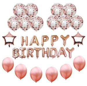 16inch Happy Birthday Banner Palloncini coriandoli oro rosa Palloncini stagnola Star Letter Palloncino Happy Birthday Decoration Elio Balloon Decor
