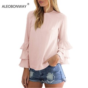 ALEOBONWAY Fashion Long Bell Sleeve Ruffled Women Blouse O Neck Women Shirt Girls Blouse Casual Chiffon Shirt TopsCL035