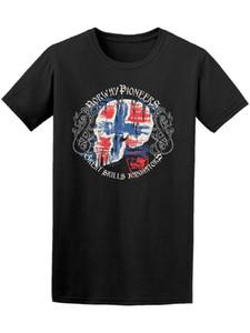 Drapeau norvégien Skull Hommes T-shirt Imprimé Hommes Harajuku Top Tee Mode Hommes T-shirt Nouveau 2018 Mode D'été