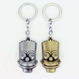 ADEDI: 10 adet Popüler Comic Anime Takı Anahtarlık Anahtarlık Metal Altın Gümüş Kaplama Karikatür Figürü Bart Simpson Kolye Biblo Anahtarlık