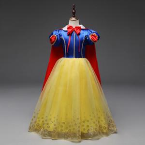 Baby-Kleider Snow White Princess Kleid Bowtie O Ansatz Bronzing Blumen Halloween Partykleid Hülse Kurzweihnachtskleid Kindkleidung