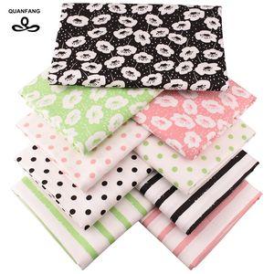 QUANFANG 9pcs / lot 40x50cm impresa sarga de algodón Tela Para remiendo DIY de coser acolchar Material del bebé niños de la muñeca Paños