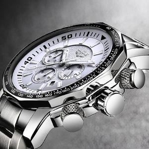 Men Watch Big Dial  LIGE Chronograph Top  Fashion Man Waterproof Sport Wristwatch Relogio Masculino relojes hombre