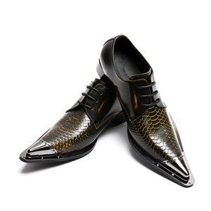 Dedo Apontado Handmade Dedo Do Metal Genuíno Couro Homens Sapatos de Vestido de Festa À Noite Sapatos de Casamento Hairdress Sexy Oxfords