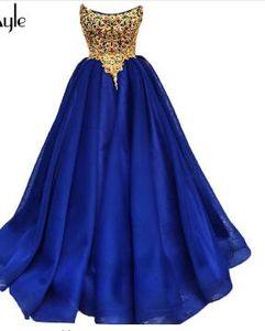 SoAyle A-Line 2018 Prom Dresses Gold Applique Beading Top Chiffon Long Evening Dresses Gorgeous Vestidos De Festa Dress Longo