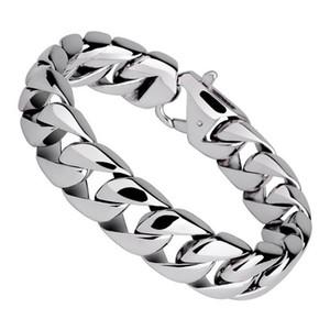 15mm Punk 316L bracciale da uomo in acciaio inossidabile colore argento rotondo Curb catena cubana braccialetto braccialetto gioielli per uomo donna 19 cm 20 cm 21 cm 22 cm