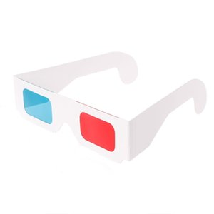10 pz / lotto Universal Paper 3D Anaglifi Occhiali 3D Paper View Anaglifi Rosso Ciano Red / Blue 3D Glass per Movie DVD TV