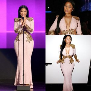 Inspired by 2018 Cannes Festival Nicki Minaj Celebrity Evening Dresses Pink Lace Gold V-neck Long Sleeve Mermaid Prom Formal Dress