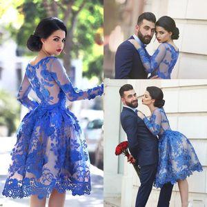 2018 Royal Blue Sheer Scoop A-Line Cocktail Dresses Lace Appliques Long Sleeves Knee Length Homecoming Dresses Plus Size Vestidos De Festa