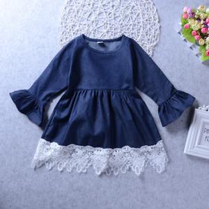 Frühling Mädchen Prinzessin Kleid Kinderkleidung Denim Spitze Abendkleid Kinder Langarm Party Kleider Baby Mädchen Kostüm Kinderkleidung