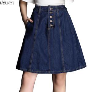 2018 Spring Summer Elastic Waist Denim Skirt Women Single Breasted Thin ladies Casual Skirts Plus Size High Waist Jeans Skirt