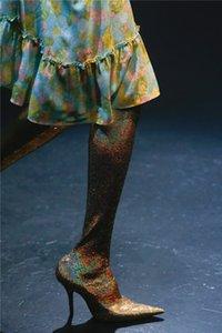 Luxury Glitter Bling Bling Paillettes Stivali Fetish Sexy Scarpe da ballo donna Scarpe a punta Stivali sopra il ginocchio Big Size EU34-EU43