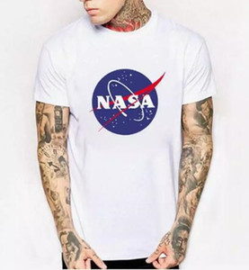 NASA Uzay tshirt Retro T-shirt Harajuku Erkekler Pamuk Gömlek Moda marka Nasa Baskı T Shirt Erkek Kısa Kollu T-shirt yaz giymek