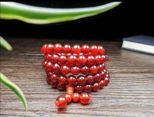 Collana di perle di agata rossa naturale con spedizione gratuita C4