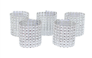 100pcs Rhinestone Napkin Rings Wedding Banquet Napkin Holder Wrap Buckle Chair Sashes Bow Covers Hotel Party Decoration