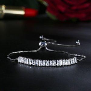 Регулируемый размер новый синтетический черный позолоченный CZ Алмаз белый зеленый темно-синий аккуратный теннисный браслет для женщин хорошие подарки ювелирные изделия