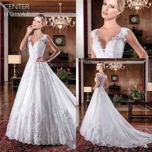 2019 디자이너 사용자 정의 만든 된 웨딩 드레스 브이 넥 레이스 라인 스위 프 기차 환상 다시 사용자 지정 만든 된 저렴한 신부 드레스 BC0263
