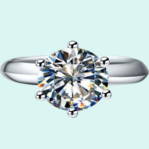 Классический 1CT Марка SONA Синтетический алмаз Обручальное кольцо 925 ювелирных изделий стерлингового серебра 18K Платиновый позолоченный Обручальные кольца для женщин
