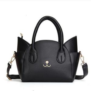 Mini Cat Handbag Cute Leather Small Trapeze Cat Bags Pink Women Crossbody Bag Girl Shoulder Bag Cartoon Bolsas Black
