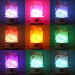 USB Tuz Lambası Taşınabilir Tasarım Renkli Değişen Kristal Işık Doğal Himalaya Dokunmatik Anahtarı Parlaklık Ayarlanabilir Yatak Odası Gece Işığı