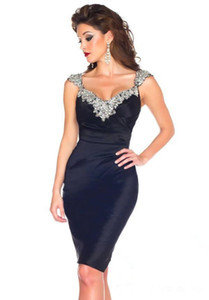 Custom made beaded capped sleeves cocktail party dresses 2018 new ruched little black short prom gowns