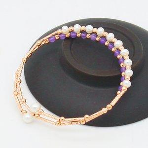 Mode Süßwasser Perle Armreif Rose Gold Kupfer Armband Stand mit Süßwasser White Pearl Bangle Großhandel