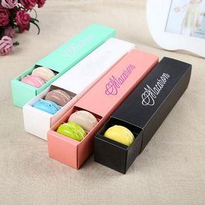 Haute qualité 4 couleurs et vert Dessert Macaron boîte 6 cavités colorées macarons boîtes d'emballage de pâtisserie