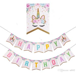 Bandera de papel Dorado Flicker Powder Unicorn Arrangement Suministros de fiesta de bandera de color Decorar para Happy Birthday Baby Convenient 5 7hp dd