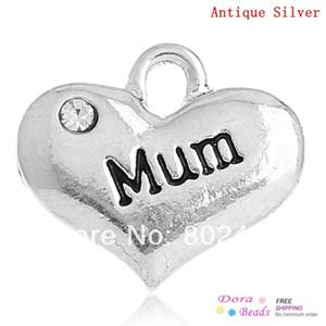 """DoreenBeads Pendentifs Charme coeur couleur argent antique """"Mum"""" Message Sculpté Strass Clair 16x14mm, 20PC (B32655)"""