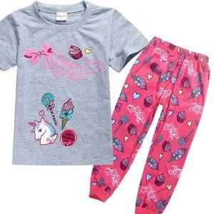2pcs nuevos niños JOJO pijamas / Set 2018 bebés unicornio chándal linda de la historieta pijamas trajes de la camiseta + pantalones de pijama traje 4-12Y