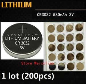 200pcs 1 lot CR3032 3V lithium pile au lithium ion bouton pile CR 3032 3 Volts li-ion piles de la pièce Livraison Gratuite