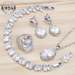 Las mujeres de plata de ley 925 conjuntos de joyería nupcial pulseras collar pendientes colgantes anillo Set de joyería con caja de regalo de zirconia blanco