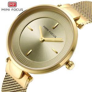 MINIFOCUS Dress Women Stainless Steel Strap Wristwatch Fashion Waterproof Watches for Ladies Gold Female Round Analog Watch MF0195L