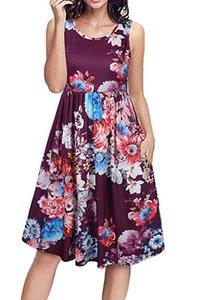 Femmes robe été chaud style chemise sans manches avec poche imprimé floral robe élégante robes plissées taille S-2XL vêtements sans manches