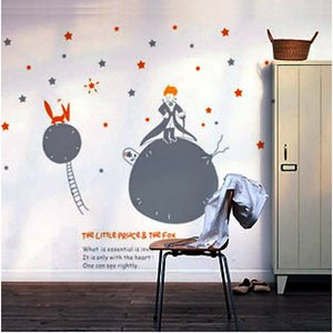 Free Shipping Wall Stickers Home Decor PVC Paster Removable Art Mural,Little Prince Christmas Decorations For Home,N-04